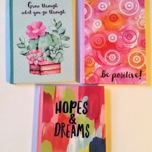 3 Journals Encouraging Lined 5X7 Positive Pink